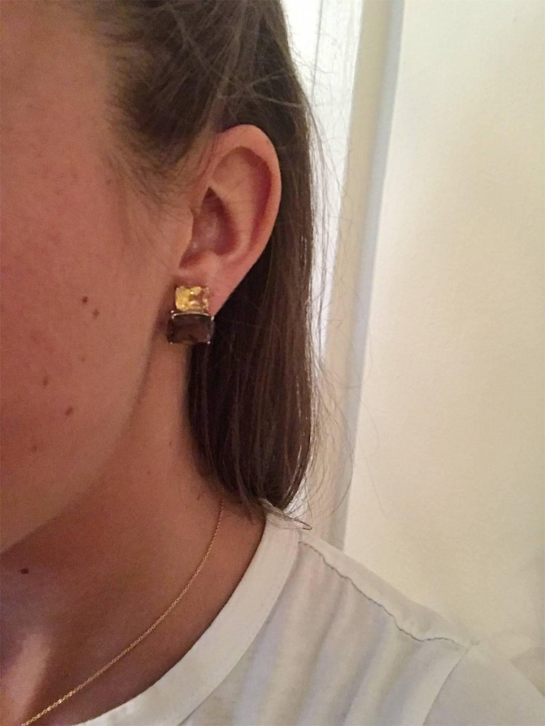 Modern White Gold Double Cushion Earrings with Citrine and Smokey Topaz For Sale