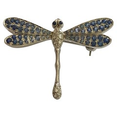 White Gold Dragonfly Brooch, Set with Sapphires and Diamonds