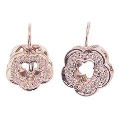 White Gold Earrings Flower Shaped with Diamonds