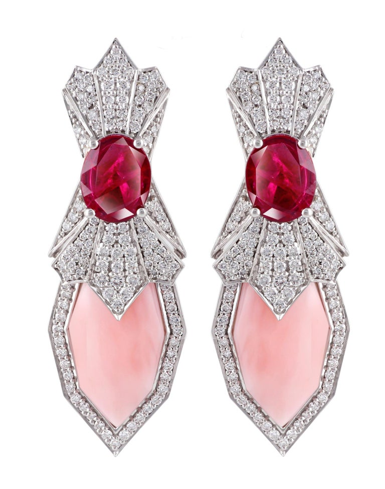 Ananya White Gold Earrings Set with Rubies, Pink Opals and Diamonds In New Condition In Knightsbridge, GB