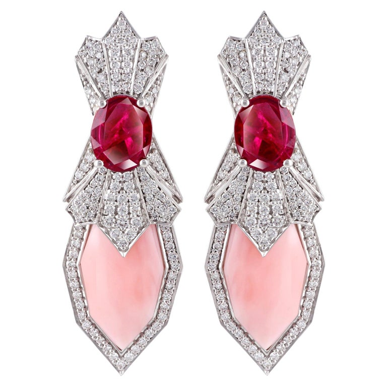 Ananya White Gold Earrings Set with Rubies, Pink Opals and Diamonds