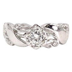 White Gold Edwardian Inspired Solitaire Engagement Ring