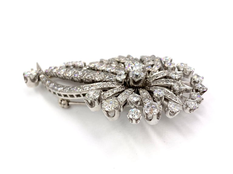 White Gold Edwardian Style Diamond Spray Pendant Brooch In Good Condition For Sale In Pikesville, MD