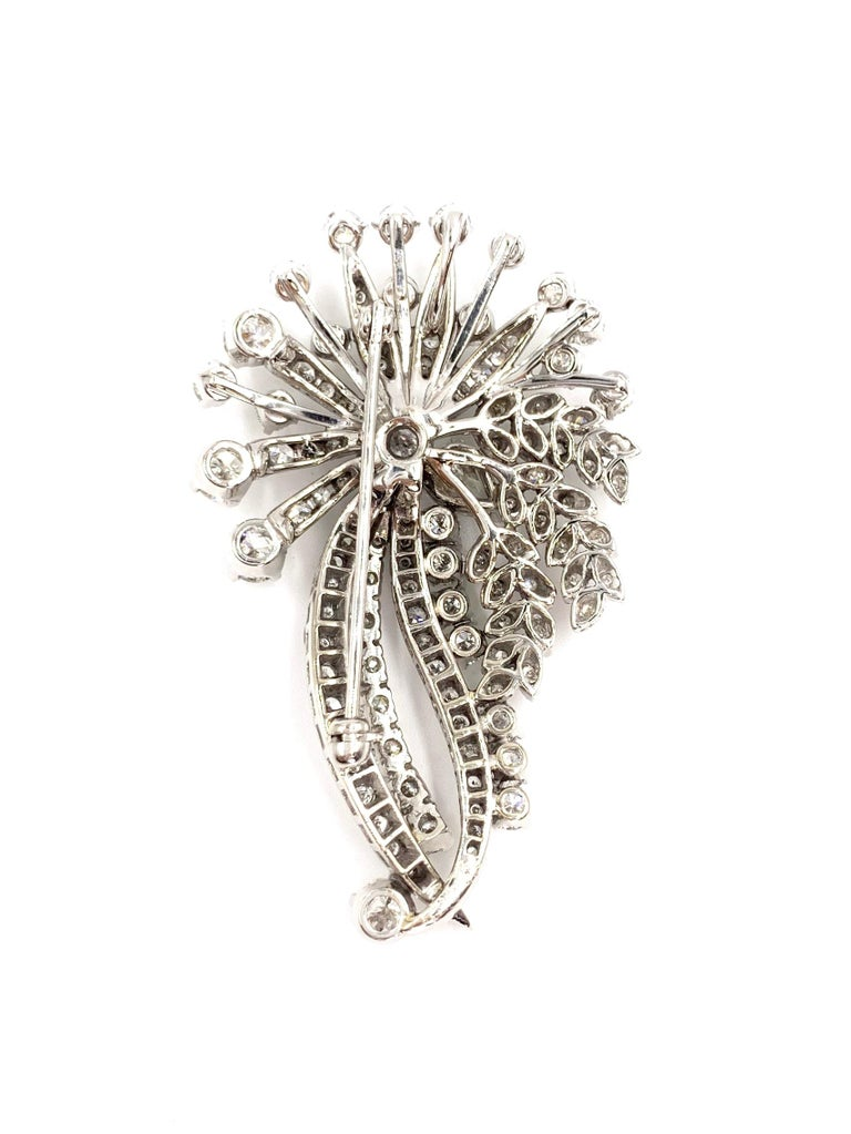Women's or Men's White Gold Edwardian Style Diamond Spray Pendant Brooch For Sale