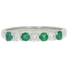 White Gold Emerald and Diamond Band Ring, 18 Karat Gold Round Cut .62 Carat