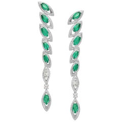 White Gold Emerald and Diamond Earrings Petali Collection by Niquesa