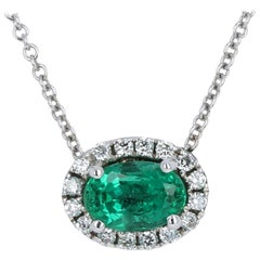 White Gold Emerald and Diamond Necklace, 14k Oval Cut .75 Carat Halo Adjustable