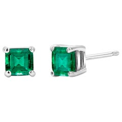White Gold Emerald Cut Colombia Emerald Stud Earrings