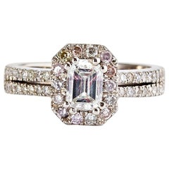White Gold Emerald Cut Diamond Engagement Ring with a Halo