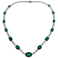 White Gold Emerald Cut Diamonds Lab Grown Deep Vivid Green Emeralds Necklace