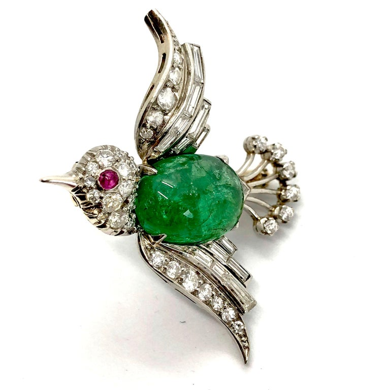 Art Deco White Gold Emerald Diamond and Ruby Bird Brooch, 1940s For Sale