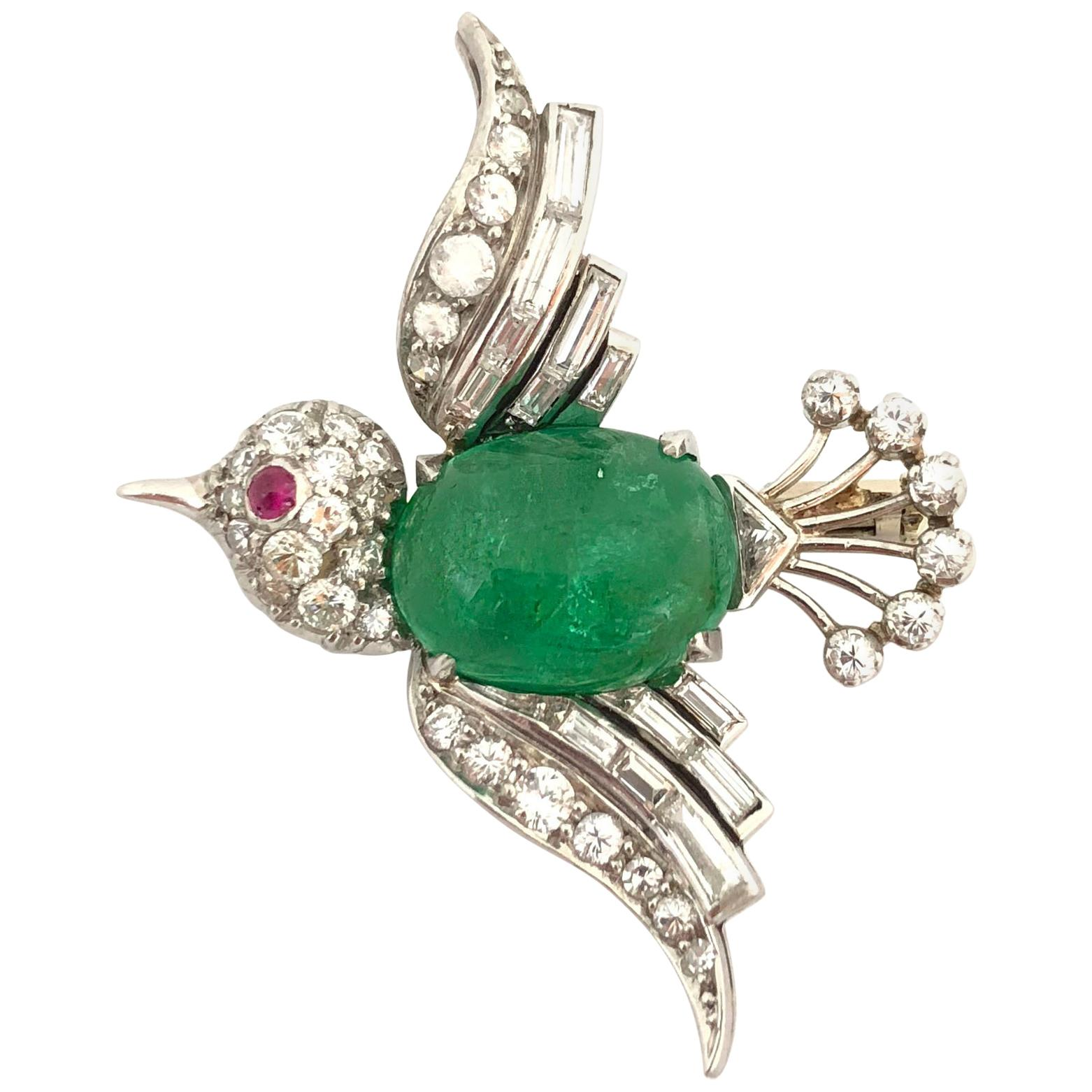 White Gold Emerald Diamond and Ruby Bird Brooch, 1940s