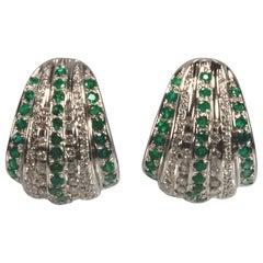 White Gold 18k , Emerald Diamond Earrings