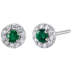 White Gold Emerald Diamond Earrings Weighing 0.47 Carat