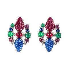 White Gold Emerald Sapphire Ruby Fruit Salad Earrings