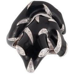 White Gold Enamel and Diamond Snake Ring