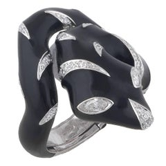 White Gold Enamel and Diamond Snake Ring