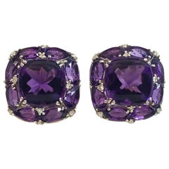 White Gold Faceted and Cabochon-Cut Amethyst and Diamond Earrings