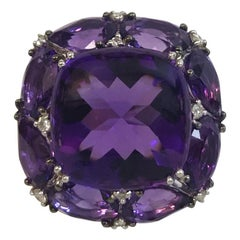 White Gold Faceted and Cabochon-Cut Amethyst and Diamond Ring