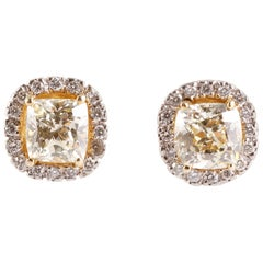 White Gold Fancy Yellow Diamond and Diamond Earrings