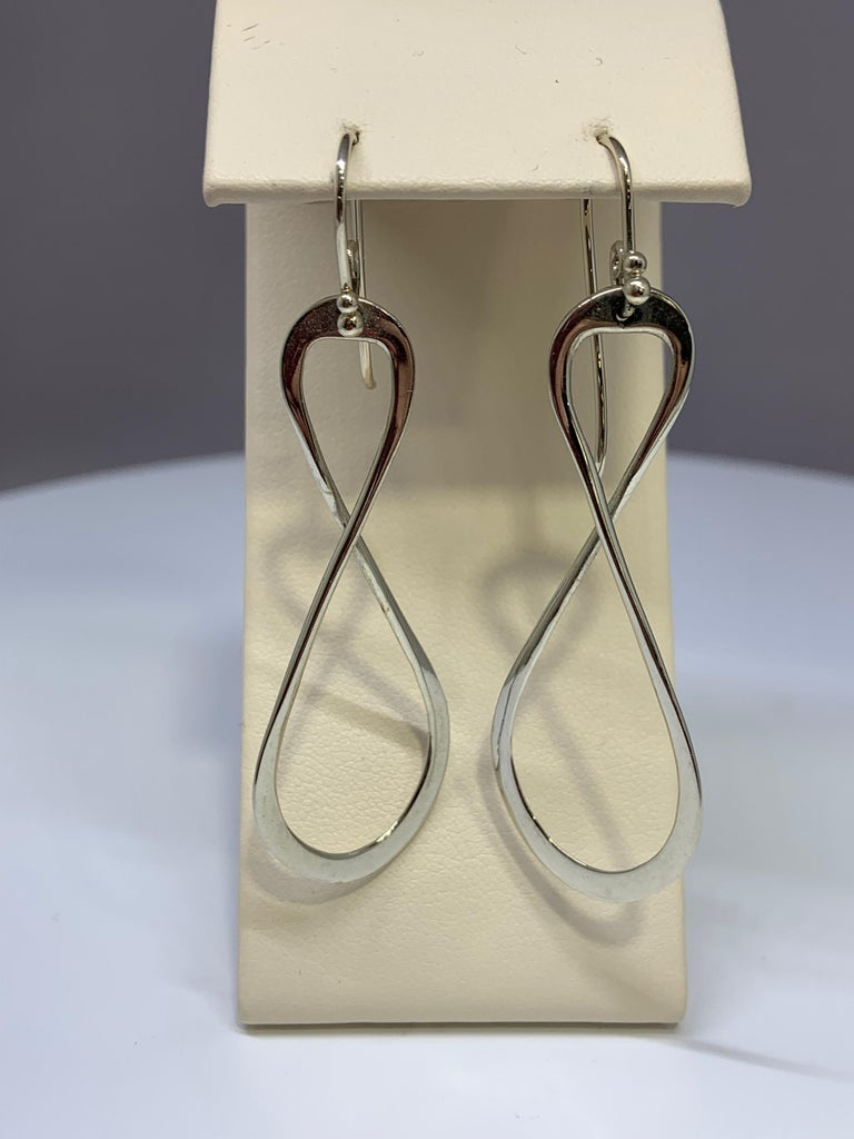 Women's or Men's White Gold Figure 8 Infinity Drop Earring For Sale