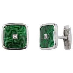 White Gold Fine Jewelry Diamond Statement Cufflinks
