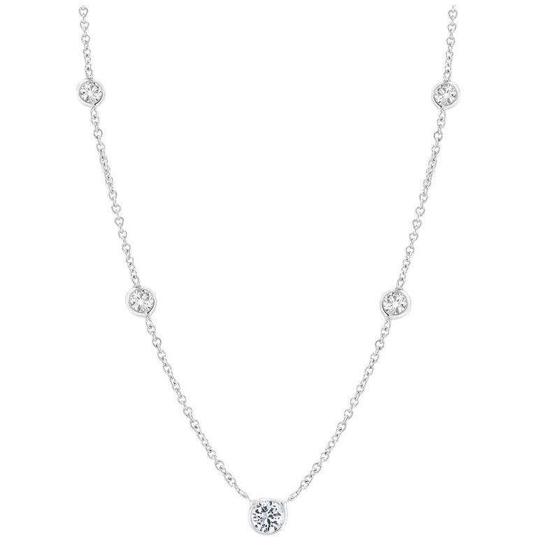 Five Graduating Bezel-Set Diamond Necklace Weighing 0.55 Carat For Sale