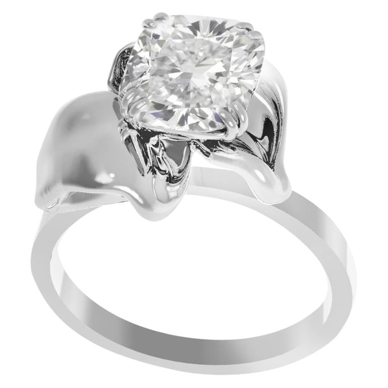 White Gold Flower Contemporary Ring with 1.01 Carat Cushion Crashed Ice Diamond For Sale