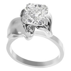 White Gold Flower Contemporary Ring with 1.01 Carat Cushion Crashed Ice Diamond