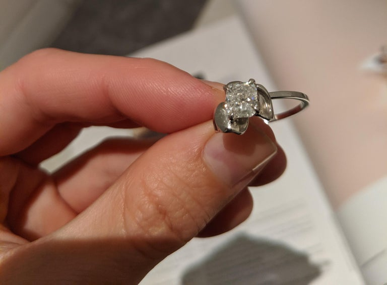 White Gold Flower Contemporary Ring with 1.01 Carat Cushion Crashed Ice Diamond For Sale 4