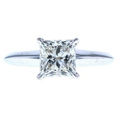 White Gold Four Prong Knife Edge Solitaire Engagement Ring Princess Cut Diamond