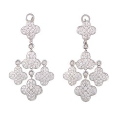 White Gold Full Diamond Pave Flower Chandelier Earrings