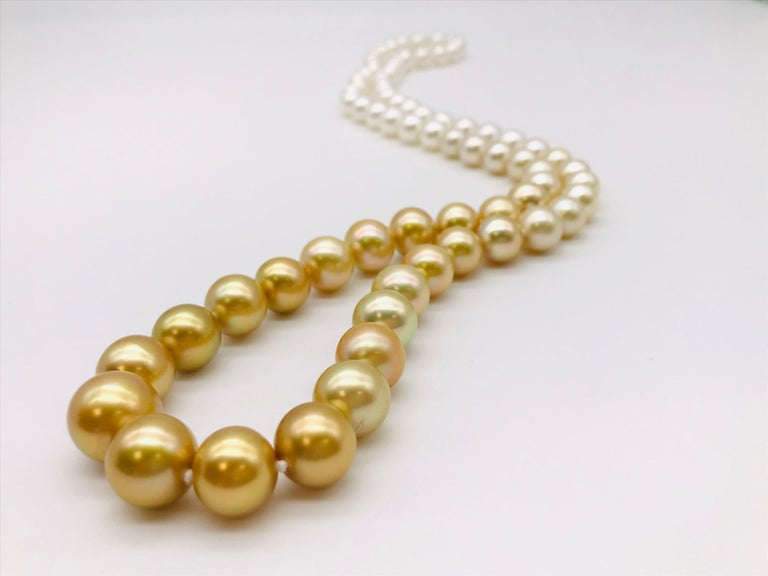 White Gold Gradient South Sea Long Pearl Necklace 73 pearls 15 mm / 10 mm  South Sea Pearls White and Gold Gradient  Length 85 cm  Exceptional quality