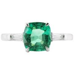 White Gold Green Zambian Emerald Ring with Diamonds, 1.35 Carat