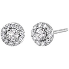 White Gold Halo Diamond Earrings Weighing 0.50 Carat