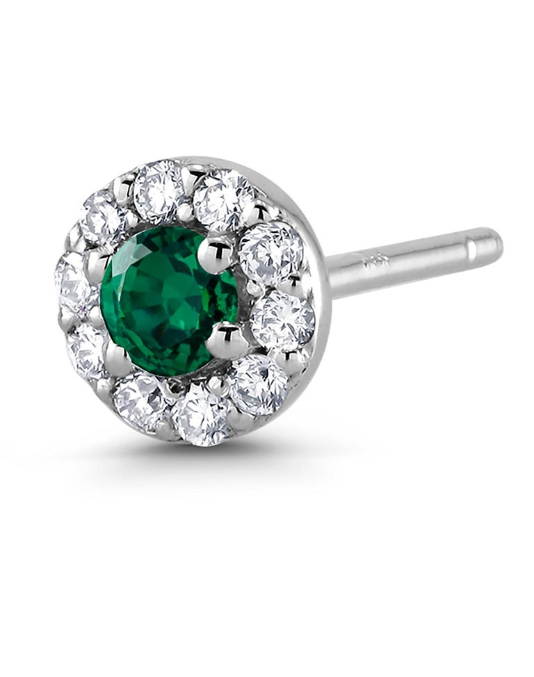 White Gold Emerald Diamond Earrings Weighing 0.47 Carat For Sale 3
