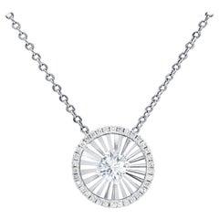 White Gold Halo Pendant with Diamond on the Center