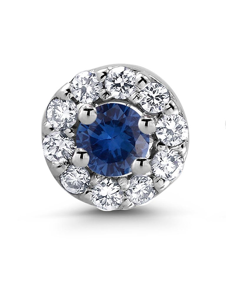 14k white gold halo sapphire and diamond earrings  Sapphire weight 0.33 carat Diamond weighing 0.27 carat New Earrings Width 0.25