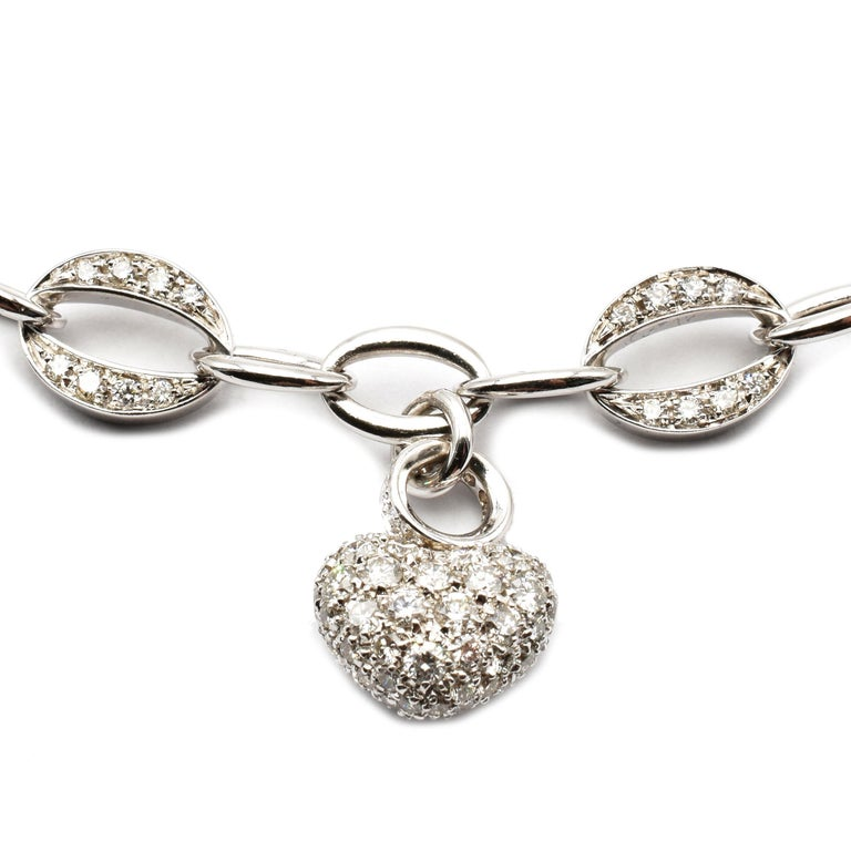 Contemporary White Gold Heart Charm Bracelet with Diamonds Made in Italy For Sale