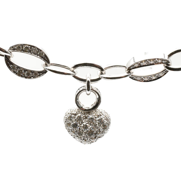 White Gold Heart Charm Bracelet with Diamonds Made in Italy In New Condition For Sale In Valenza, AL