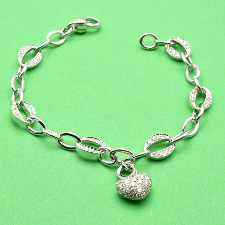 Women's White Gold Heart Charm Bracelet with Diamonds Made in Italy For Sale