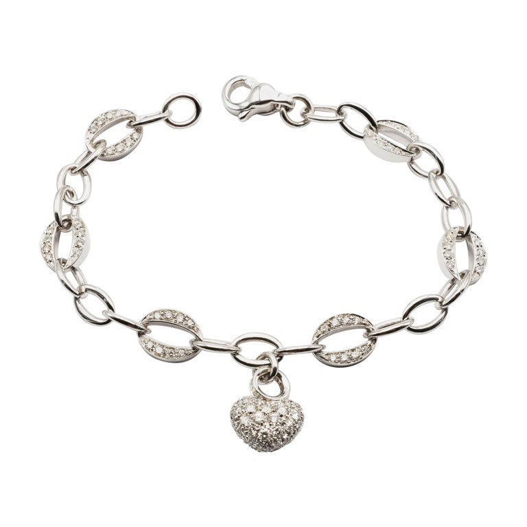 White Gold Heart Charm Bracelet with Diamonds Made in Italy For Sale