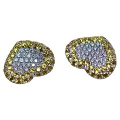 White Gold, Heart Stud Earrings, Set with Diamonds and Sapphires, Pasquale Bruni