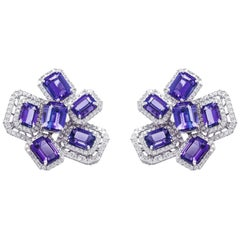 Ananya White Gold Hexagonal Earrings Set with Tanzanite and Diamonds