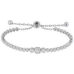 White Gold Illusion Set Diamond Line Tennis Bracelet