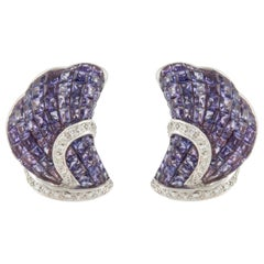 White Gold Invisible Set Purple Sapphire Earrings