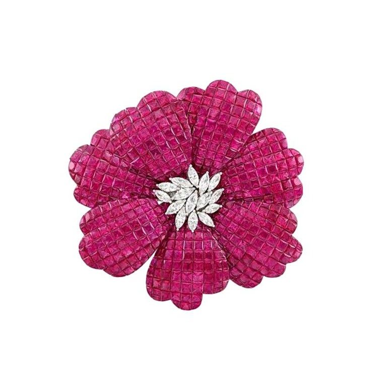 White Gold, Invisibly-Set Ruby and Diamond Flower Brooch For Sale