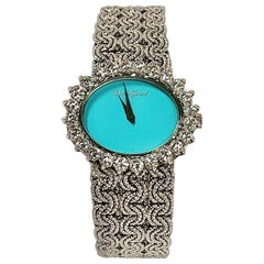 White Gold Ladies Bueche Girod Watch with Turquoise Dial and Large Diamond Bezel