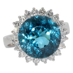 White Gold Ladies Ring with Large, Faceted Blue Topaz and Diamonds