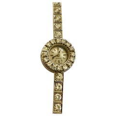 White Gold Lady's Watch, Omega 1963 Set with Diamonds
